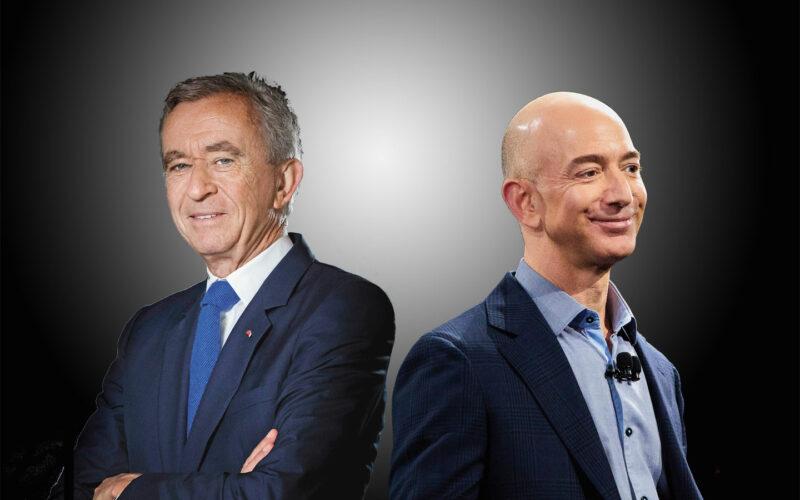 BERNARD ARNAULT, Hauptaktionär des Luxusgüterkonzerns LVMH (li) und JEFF BEZOS, Gründer von Amazon. © Getty Images